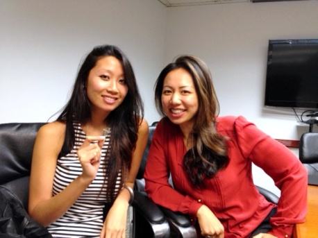 Mandarin Speaking Agent Eileen Hsu and her client who just closed on her property at the closing table.